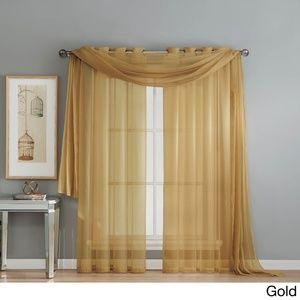 Soft Sheer Voile Scarf Valance Window Panel Drape